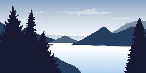 blue river wildlife nature landscape with mountains vector illustration EPS10