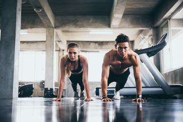 Door stickers Fitness Gym trainer concept sport gym training