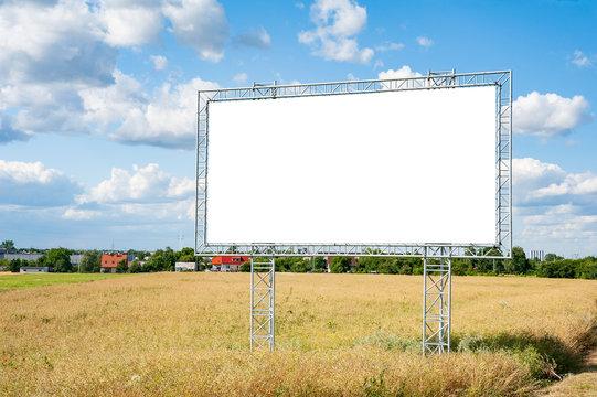 Blank white advertising billboard mockup in a village
