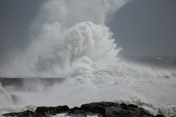 Stormy waves splash