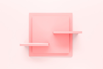 Modern pastel pink shelf display or frame with minimal style on white wall background. Blank product shelves panel. 3D rendering.
