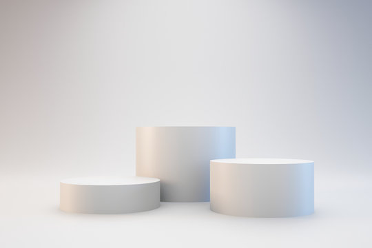 Modern podium or pedestal display with platform concept on white background. Blank shelf stand for showing product. 3D rendering.