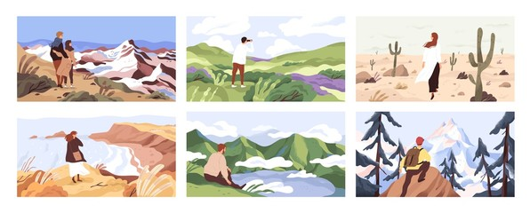 Travelers enjoying scenic view flat vector illustrations set. Young people on adventure cartoon character. Searching for goal, opening new horizons, outdoor rest concept. Tourists contemplating nature Fotomurales