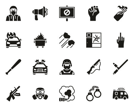 Riot or Public Disturbance Icons Black White Set Big