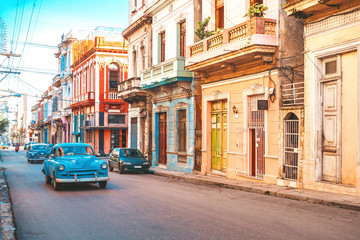 Canvas Prints Havana American classic cars on the street in old Havana, Cuba