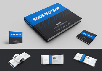 6 Mockup Set of Landscape Hardcover Books