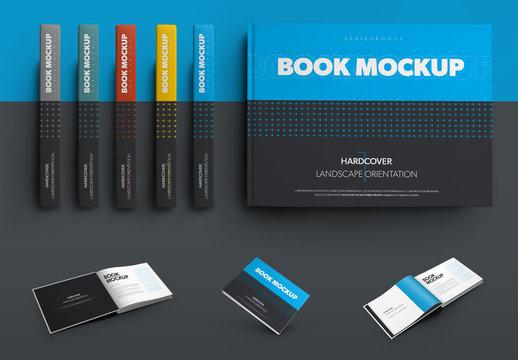 5 Mockup Set of Landscape Hardcover Books