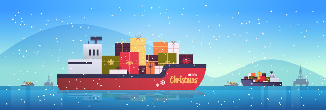 container cargo ship with gift present boxes logistic transportation concept christmas new year winter holidays celebration flat horizontal vector illustration