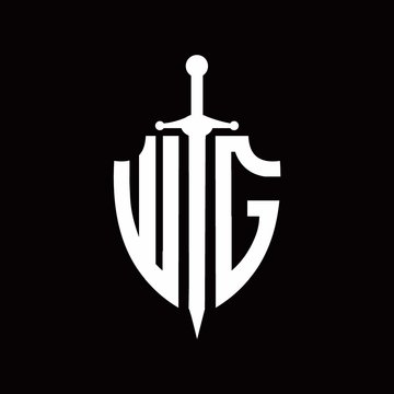 WG logo with shield shape and sword design template
