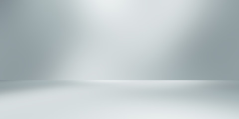 Fotobehang - soft gray studio room background, grey floor backdrop with spotlight