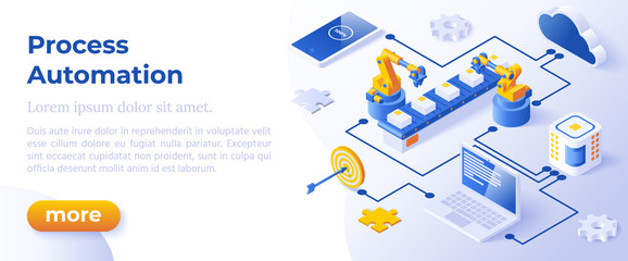 Process Automation - Isometric Concept in Trendy Colors. Innovation Technology Concept. Intelligent System Automation Segment Metaphor. AI Artificial Intelligence. Website Banner Layout Template.