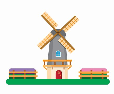 Dutch windmill between tulip fields, Holland traditional builiding for agricultural symbol in flat illustration editable vector