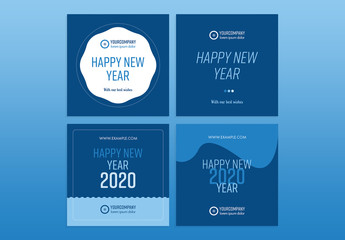 New Year Social Media Layout Set with Classic Blue Accents