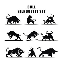 Vector illustration of Bull Silhouette logo icon set