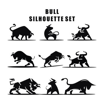 Vector illustration of Bull Silhouette logo icon set