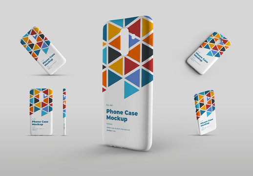 5 Smartphone Phone Case Mockup Set Front View