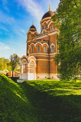 Beautiful side view of a majestic Temple, Borodino Monastery