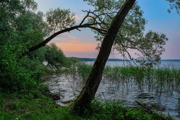 Volga river landscape, sunset, Tver, Russia