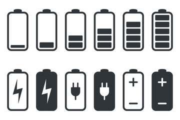 Battery charging icon. Battery charge indicator icons, vector graphics