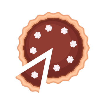Traditional american homemade chocolate pie with pie slice and whipped cream vector illustration isolated pn white background.