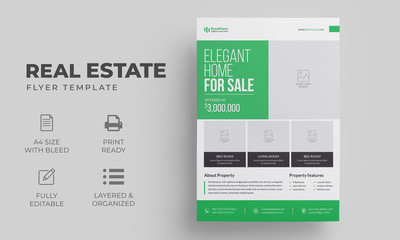 Real Estate Business Flyer Template | Editable Green Poster, Brochure Cover Design