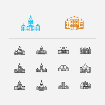 Building icons set. Arkansas state capitol and building icons with texas state capitol, skyscraper and north carolina state capitol. Set of fortress for web app logo UI design.