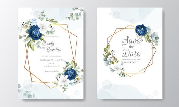 Beautiful Hand Drawn Floral Wedding Invitation Card
