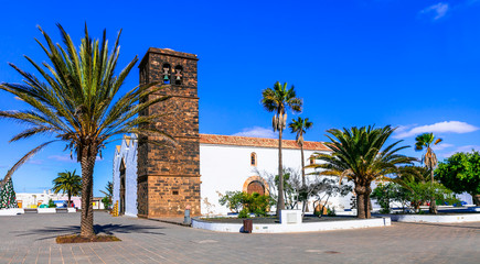 Landmarks of Fuerteventura - traditional colonial town La Oliva. Church of Candelaria in downtown