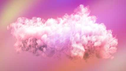 Foto auf Acrylglas Rosa Lovey Cloud isolated, steam, smoke. 3d illustration, 3d rendering.