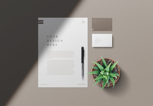 Letterhead and Business Cards Mockups