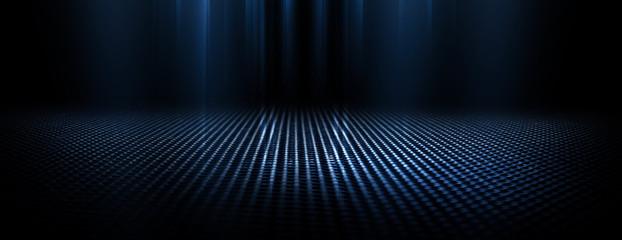 Fotomurales - Dark empty scene, blue neon searchlight light, wet asphalt, smoke, night view, rays.