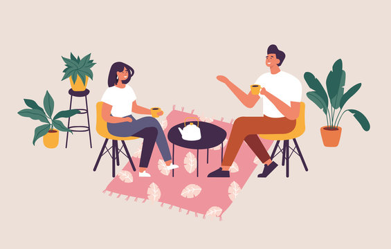 Vector illustration couple sitting at the table, drinking tea or coffee and talking. Romantic date in a cafe.
