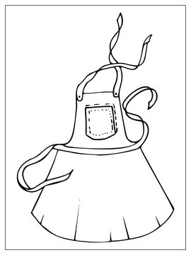 Black silhouette kitchen apron isolated on a white background.