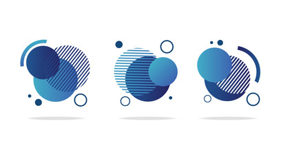 Set of round abstract badges, icons or shapes in trendy light mint blue and classic blue gradient colors Wall mural