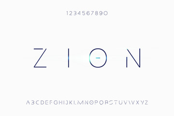 Zion. Abstract technology futuristic alphabet font. digital space typography vector illustration design