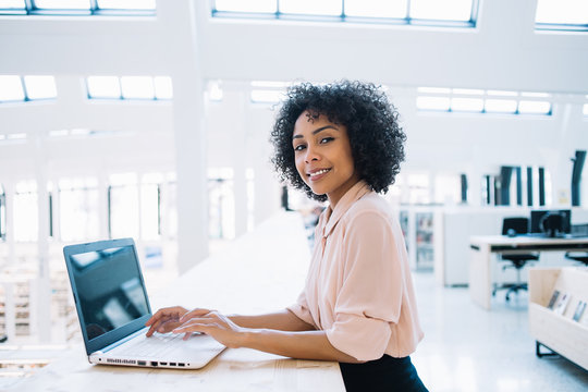 Portrait of happy afro american financial manager looking at camera and smiling during work time in modern office company, cheerful woman with curly hair using laptop for working online with app