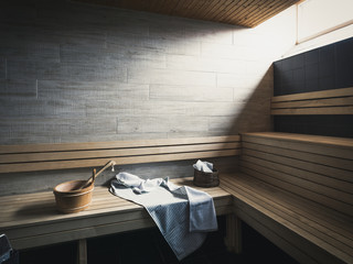 Benches in sauna