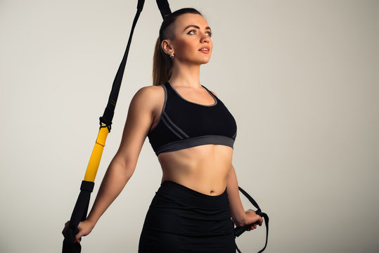 Beautiful positive young girl fitness model
