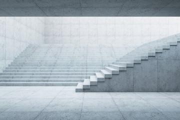 modern staircase in concrete interior, 3d rendering Fotomurales