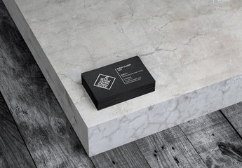 Black Business Cards Mockup on Concrete