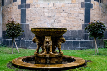 Beautiful medieval fountain, Maria Laach Monastery