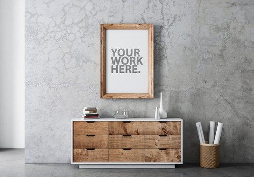 Wooden Frame Mockup on Concrete in Modern Room