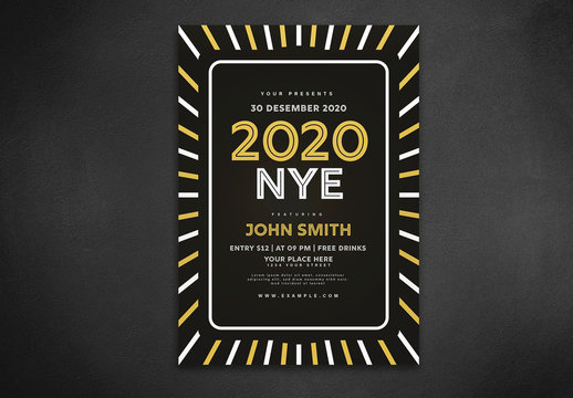 Black New Year'S Event Flyer Layout with Yellow and White Border Element