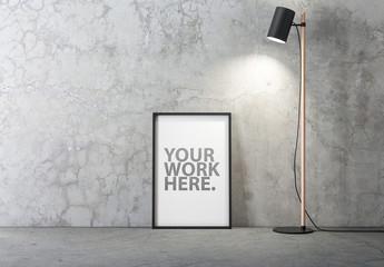 Black Frame Poster Mockup on Concrete Floor