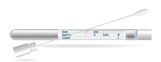 Sterile Transport SWAB. Cotton swabs in plastic tube with cap