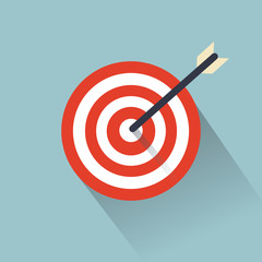 Target with an arrow flat icon concept market goal vector picture image. Concept target market, audience, group, consumer.