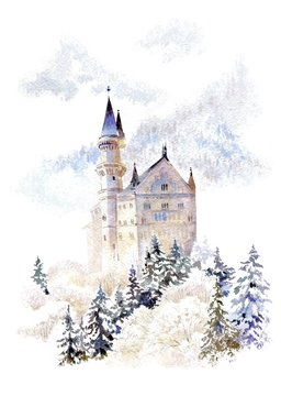 Watercolor winter landscape with castle