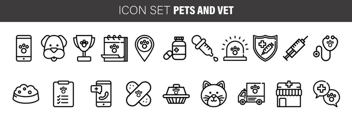 vet clinic, Simple thin line veterinary medicine icons set. Vector icons