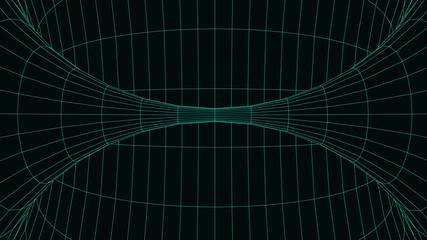 Vortex. Vector perspective curved grid. Wireframe abstract tunnel. 3D vector wormhole with a mesh structure.