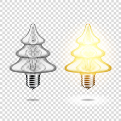 Wall Mural - Set of realistic transparent light bulb - christmas tree, isolated.